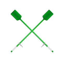 Wo crossed old oars in green design vector
