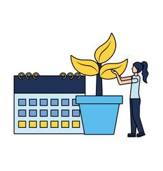 woman calendar plant in pot vector image