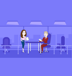 Woman secretary giving boss sitting at desk vector