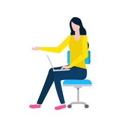 woman with laptop worker secretary lady on chair vector image