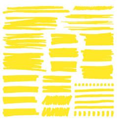 yellow marker stroke highlight marker stroke vector image