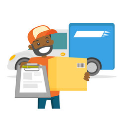Young delivery man delivering parcel to customer vector