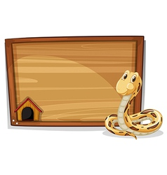 An empty wooden signboard with a snake vector image