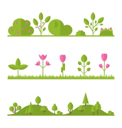 Collection set flat icons tree garden bush vector image