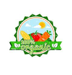 farm fresh organic food label farm food logotype vector image