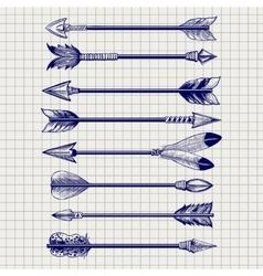 Hand drawn feathery arrows sketch vector image