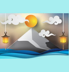 paper art of fuji mountain and sea view lanscape vector image vector image