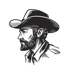 Portrait man in cowboy hat sketch vector