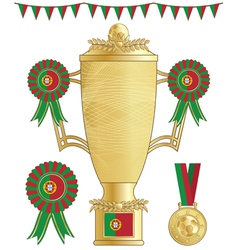 portugal football trophy vector image vector image
