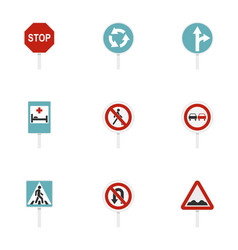 warning traffic sign icons set flat style vector image vector image