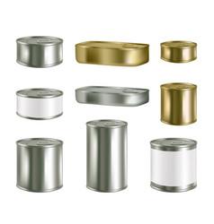 canned food realistic blank metal package vector image