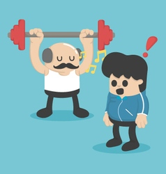 Cartoon concept exercise Weight lifting vector image vector image