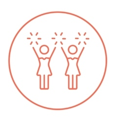 Cheerleaders line icon vector image