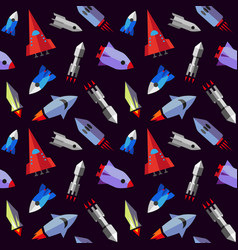 flat rocket seamless pattern vector image
