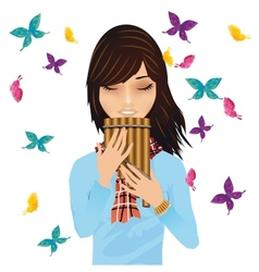 Girl with a pans flute surrounded by butterflies vector image vector image
