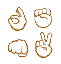 hand gestures set people emotion icon collection vector image vector image