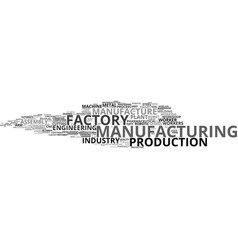 Manufacture word cloud concept vector
