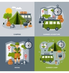 Camping Flat Icons Set vector image vector image