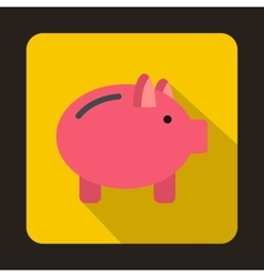 Piggy bank icon in flat style vector image