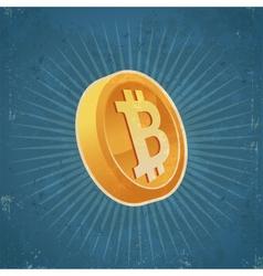 Retro Gold Bitcoin Coin vector image vector image