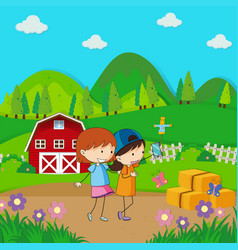 two girls taking selfie in the farmyard vector image vector image