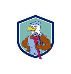 Bald Eagle Plumber Monkey Wrench Crest Cartoon vector image vector image