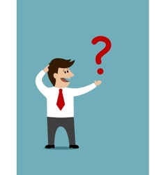 Cartoon man holding a question mark vector image