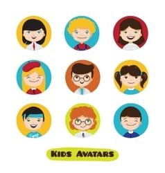 cute cartoon kids avatars set Children vector image