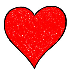 red heart drawing with black contour vector image