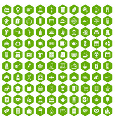 100 kitchen utensils icons hexagon green vector