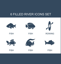 6 river icons vector