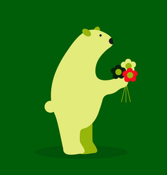 Adorable bear in floral technique beautiful card vector