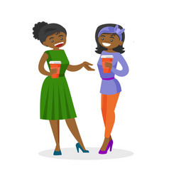 African-american business women drinking coffee vector