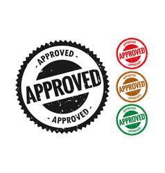 Approved stamp in rubber style set four vector