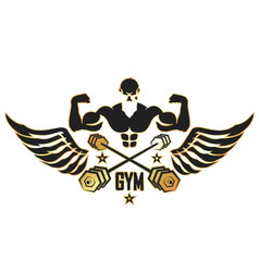 Athlete with wings and dumbbells vector