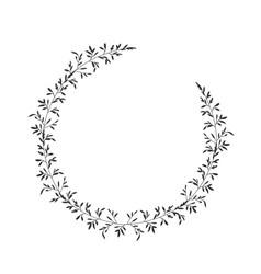 Autumn botanical oval frame wreath on white vector