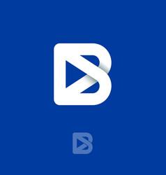 b monogram origami logo interwoven lines vector image