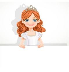 Beautiful little blond ballerina girl in tiara vector