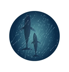 Big and little whales in ocean waves vector