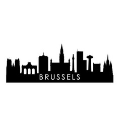 Brussels skyline silhouette black brussels city vector