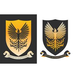 burning phoenix on shield vector image