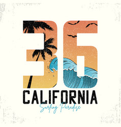 California slogan for surfing t-shirt typography vector
