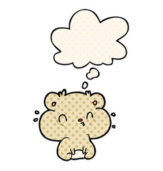 Cartoon hamster and thought bubble in comic book vector