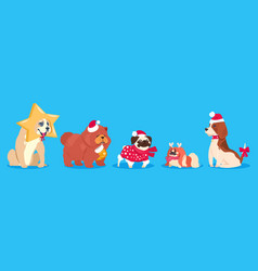 christmas dogs winter animals cute vector image
