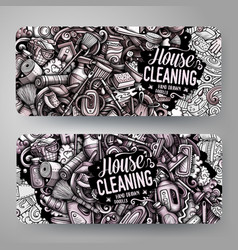 Cleaning hand drawn doodle banners design vector