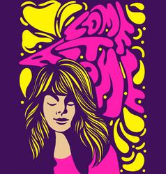 Come at alone psychedelic retro banner design vector