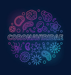 Coronaviridae concept outline colored round vector