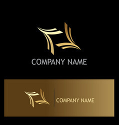 curve abstract gold logo vector image