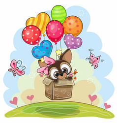 Cute puppy in the box is flying on balloons vector