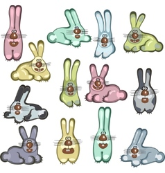 different cartoon rabbits vector image